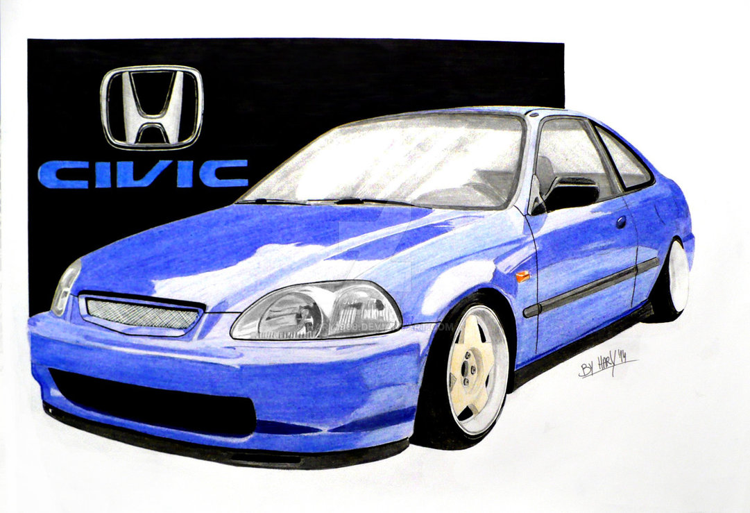 1081x739 Honda Civic Ek Coupe Drawing By Hary1908
