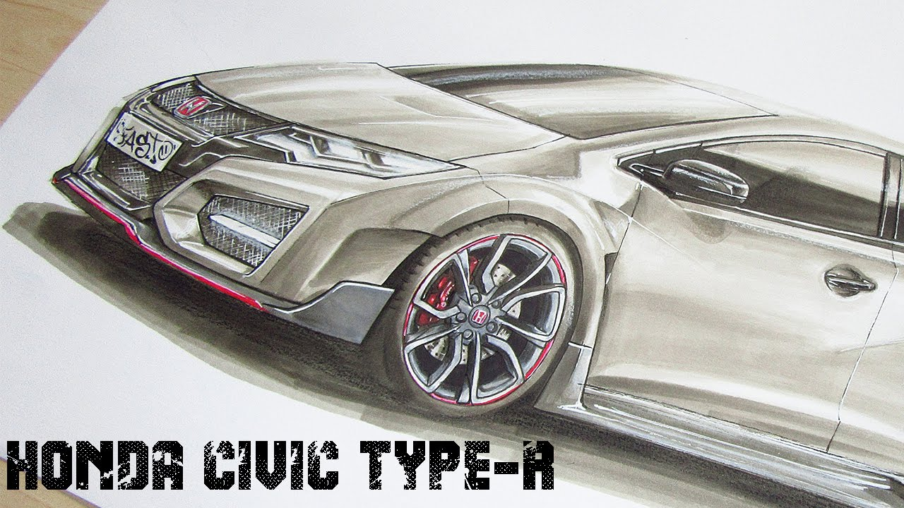 1280x720 Honda Civic Type R (2016) Car Drawing By Fast Art