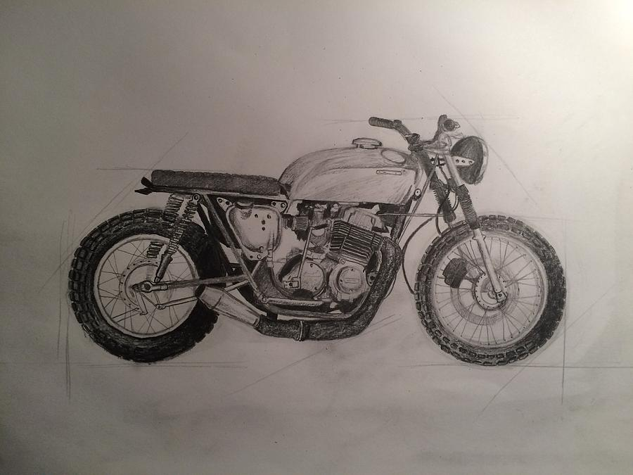 900x675 Honda Cb500 Drawing By Levente Balasko