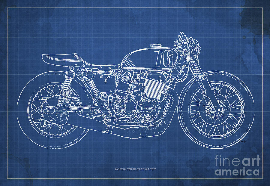 Honda motorcycle drawing at getdrawings free for personal use 900x618 honda cb750 cafe racer blueprint drawing by pablo franchi malvernweather Images