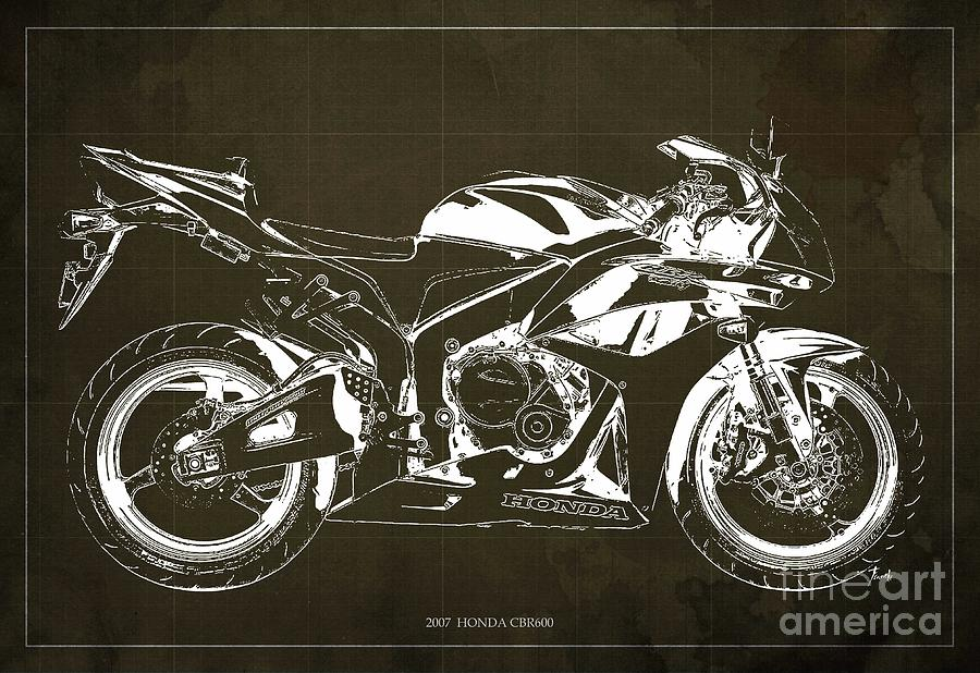 900x618 Motorcycle Blueprint Honda Cbr600 Gift For Him Gift For Her
