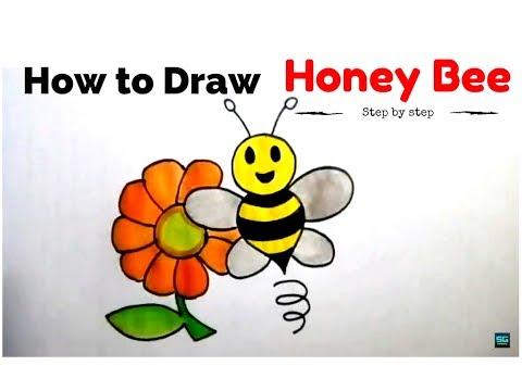 480x360 How To Draw Cartoon Honey Bee With Flower Cartoon Honey Bee