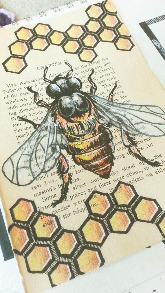 570x1013 Original Honey Bee Drawing Hand Drawn Book Art Honey Bee