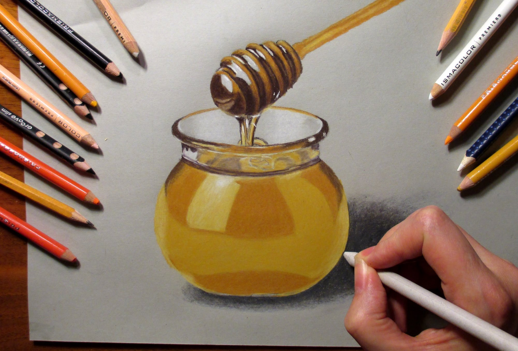 2000x1354 Speed Drawing Pot With Honey And Honey Dipper