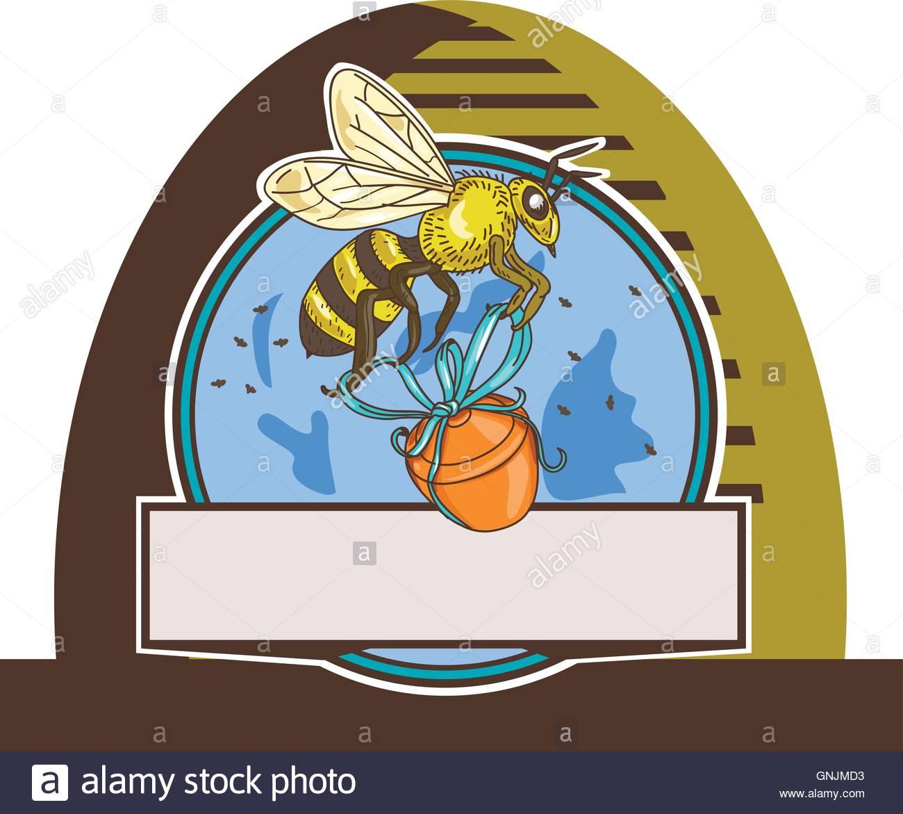 1300x1171 Bee Carrying Honey Pot Skep Circle Drawing Stock Vector Art