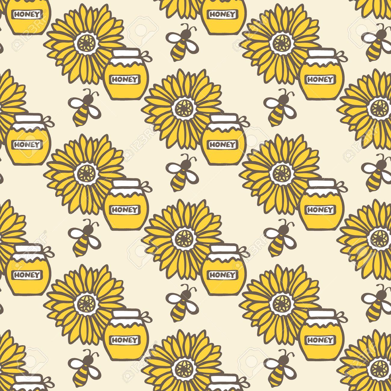1300x1300 Honey Jar, Flower And Bee. Hand Drawn Seamless Cartoon Pattern