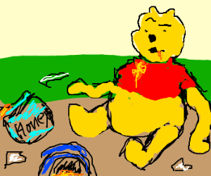 300x250 Pu The Bear With Dissappointed Empty Honey Pot