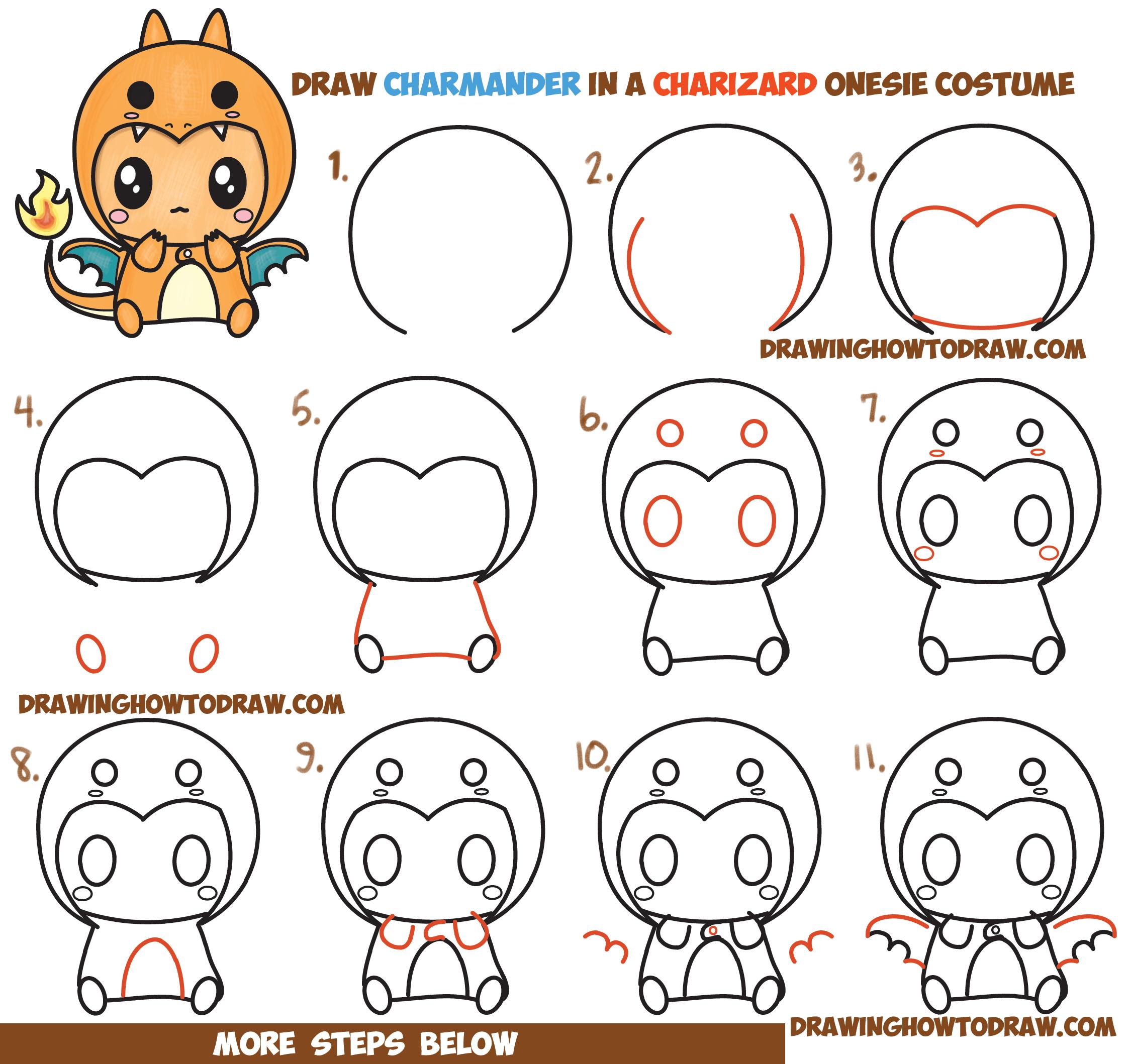 2250x2118 How To Draw Charmander Wearing Charizard Costume Onesie