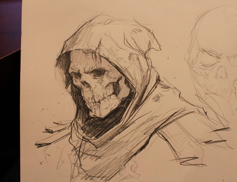 1000x767 Skull And Hood Drawing Skulls