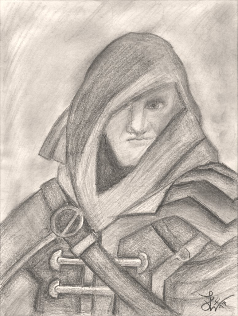 775x1030 Thiefhooded Man Medievalfantasy Pencil Drawing By Thejulinator