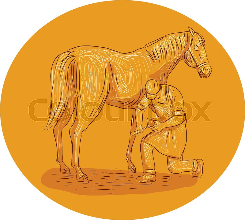 800x720 Drawing Sketch Style Illustration Of A Farrier, Specialist