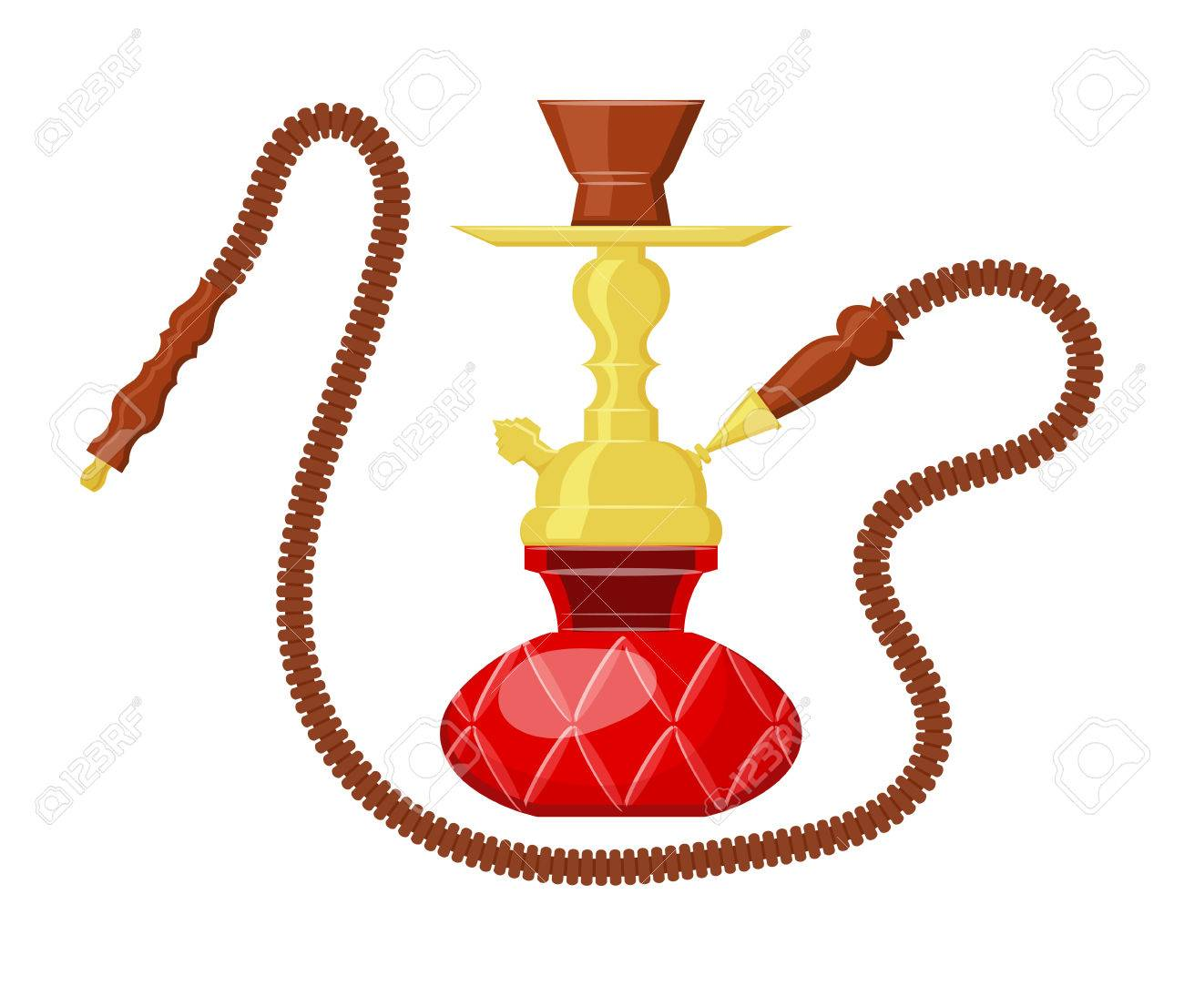 1300x1083 Vector Illustration Of Hookah On White Background. Cartoon Drawing
