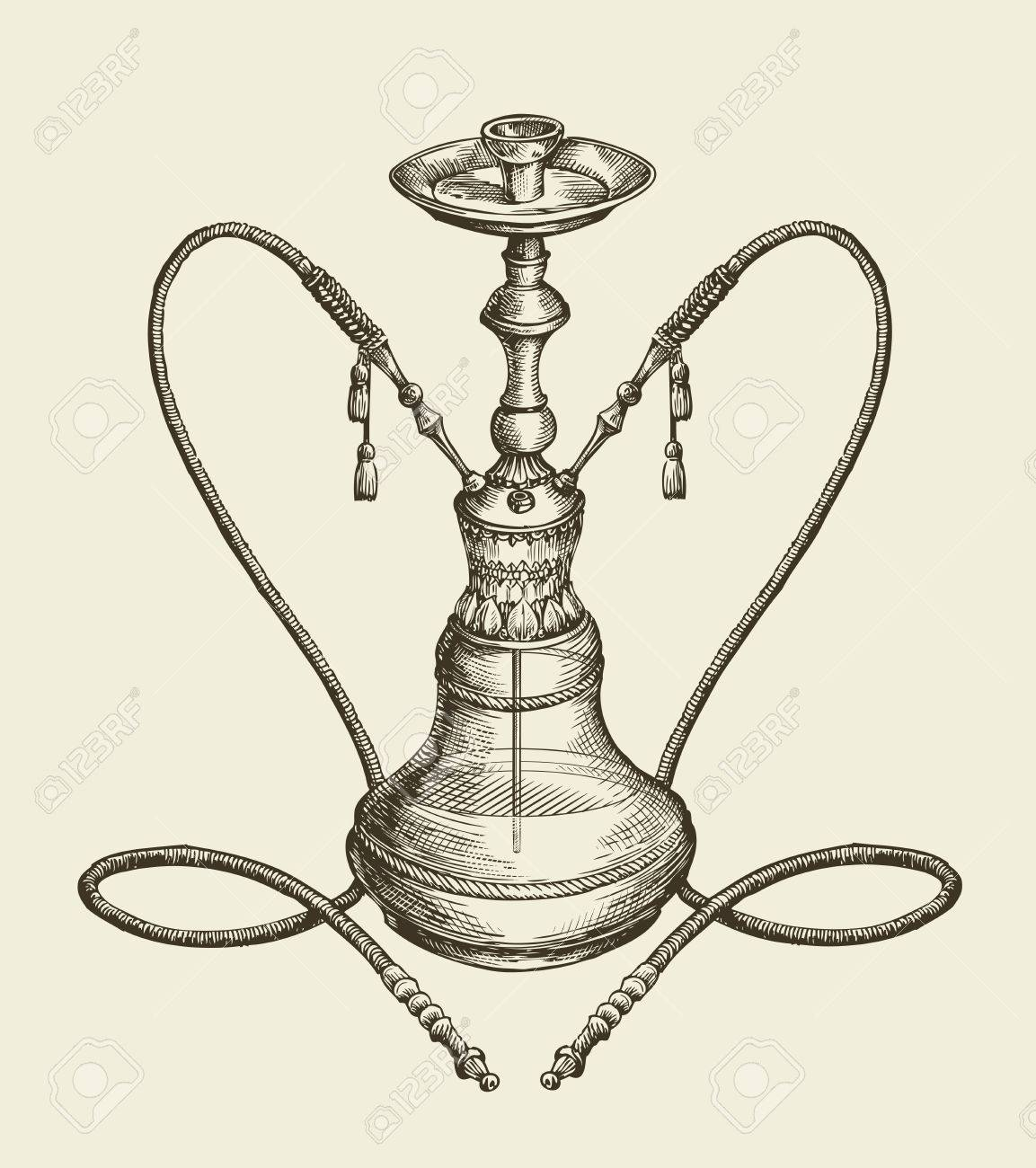 1153x1300 Vintage Sketch Hookah, Tobacco Smoking. Vector Illustration