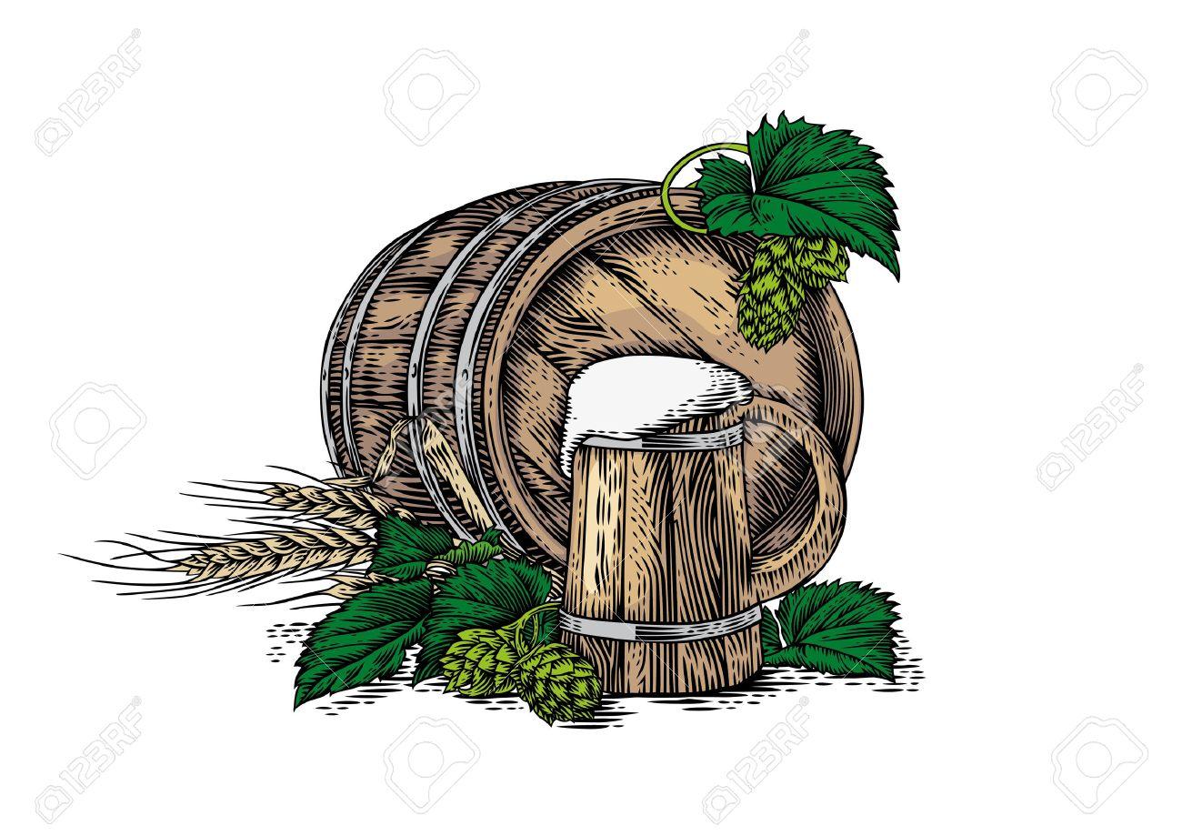 1300x919 Drawing Of Wooden Beer Mug, Wooden Barrel, Barley, And Hop Cones