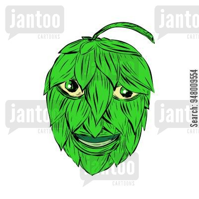 400x400 Drawing Sketch Style Illustration Of A Hops Man Or Green Man