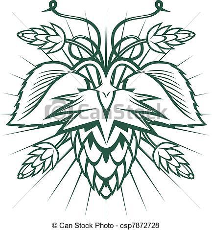 433x470 Hops Emblem. Hops Themed Ornament Vector