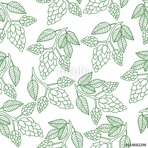 500x500 Hops Plant Seamless Pattern, Hand Drawing Style. Hops Background