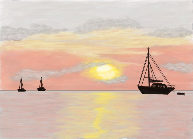 640x460 Boats On The Horizon By Theplatespacenow (Landscapes Drawing)