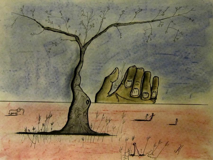 900x679 Hand On The Horizon Drawing By Dan Twyman