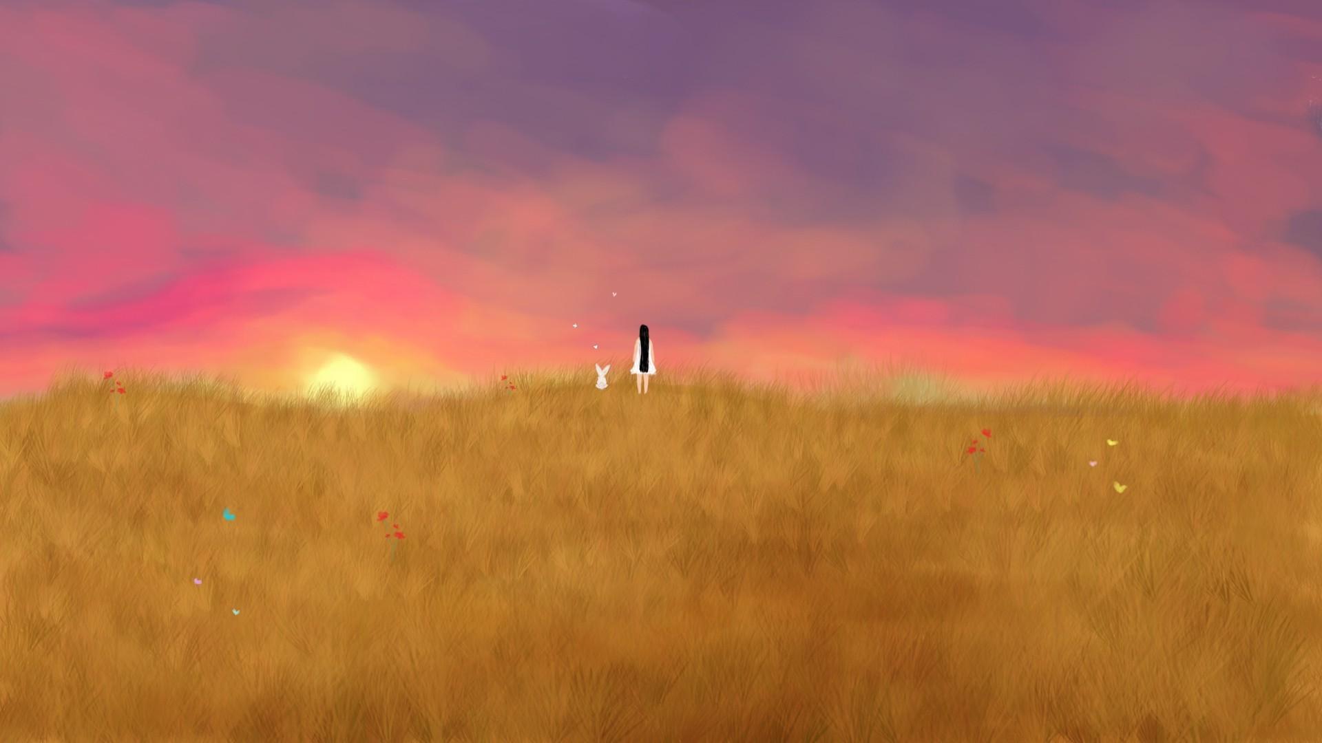 1920x1080 Wallpaper Sunlight, Drawing, Sunset, Hill, Sky, Field, Sunrise