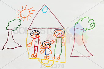 340x227 Stock Photo Of Child Sketch Drawing Of Family In House With Trees