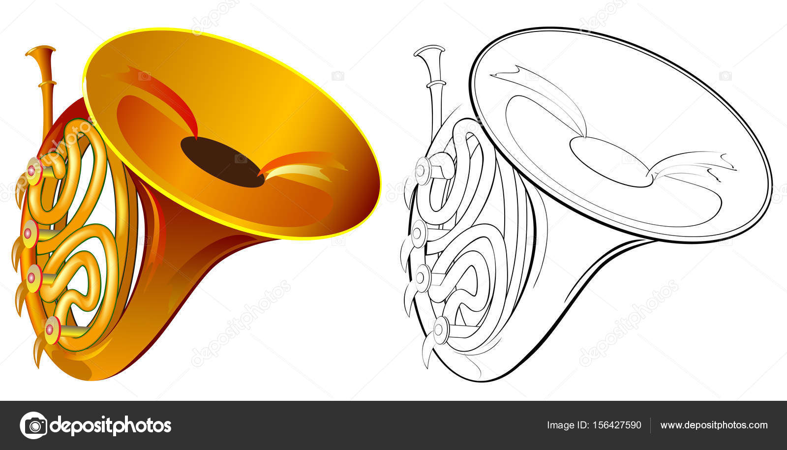 1600x915 Colorful And Black And White Drawing Of French Horn. Worksheet