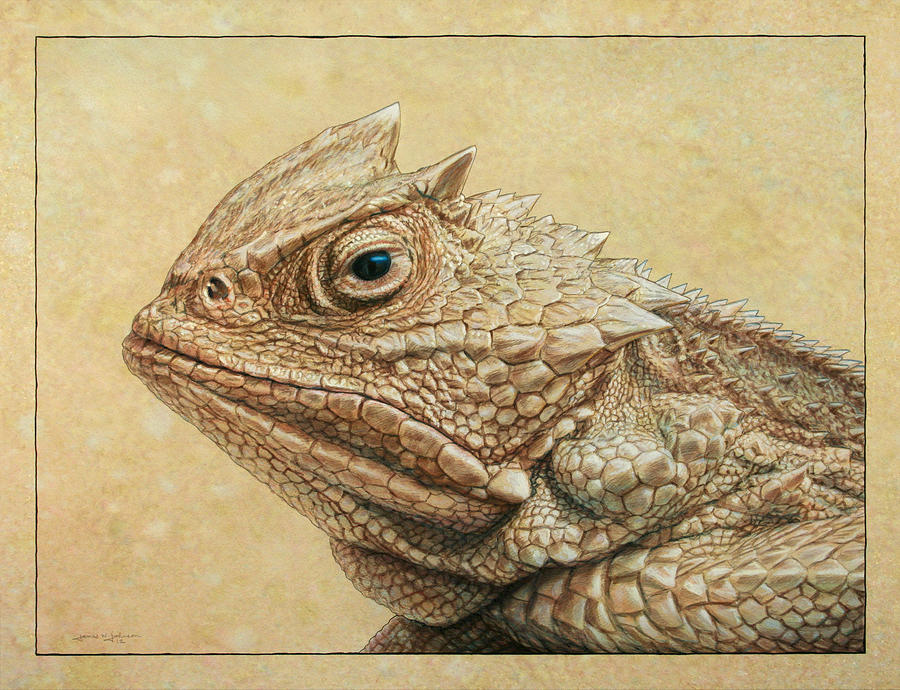 900x690 Horned Toad Painting By James W Johnson