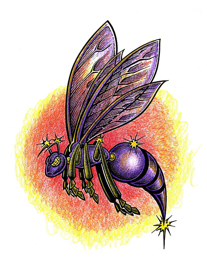 695x900 Purple Hornet Drawing By Paul Abrahamsen