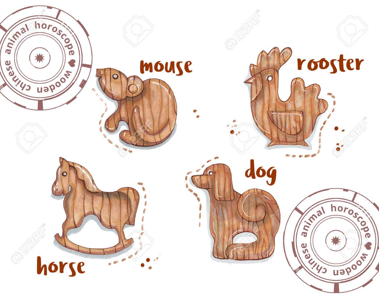 1300x1032 Hand Drawing Horoscope Animal, Wooden Toys Stock Photo, Picture