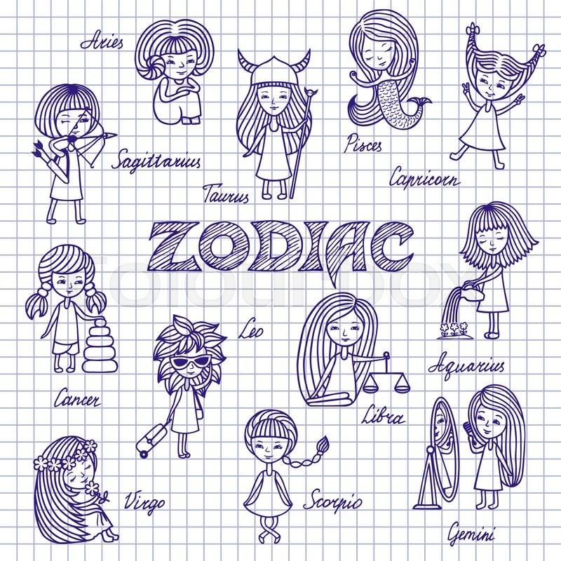 800x800 Hand Drawn Funny Zodiac Signs, Cartoon Horoscope, Doodles. Set
