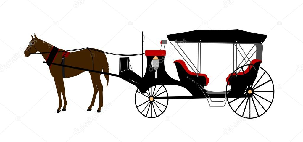 1024x480 Vintage Horse Drawn Carriage Stock Vector Retroartist