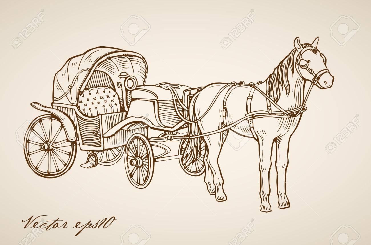 Horse And Carriage Drawing at GetDrawings.com | Free for ...