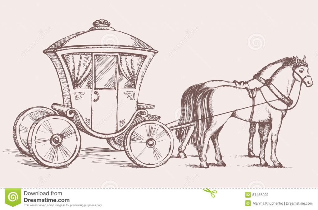 1024x675 Horse And Carriage Drawing Carriage Vector Drawing Stock Vector