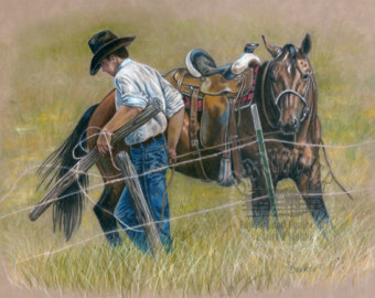 340x270 Cowboy Drawing Etsy