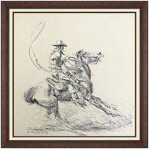 299x300 Olaf Wieghorst Original Ink Drawing Signed Western Horse Cowboy