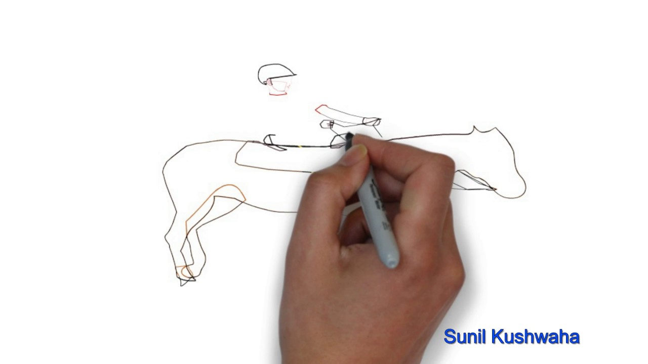 1280x720 Easy Step By Step Tutorial On How To Draw Horse With Rider