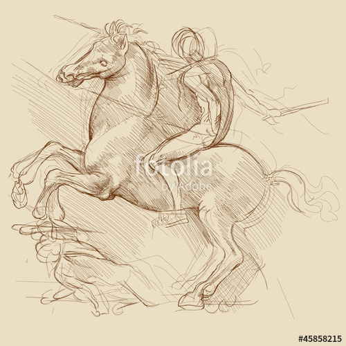 500x500 Horse And Rider. Based On Drawing Of Leonardo Da Vinci Stock