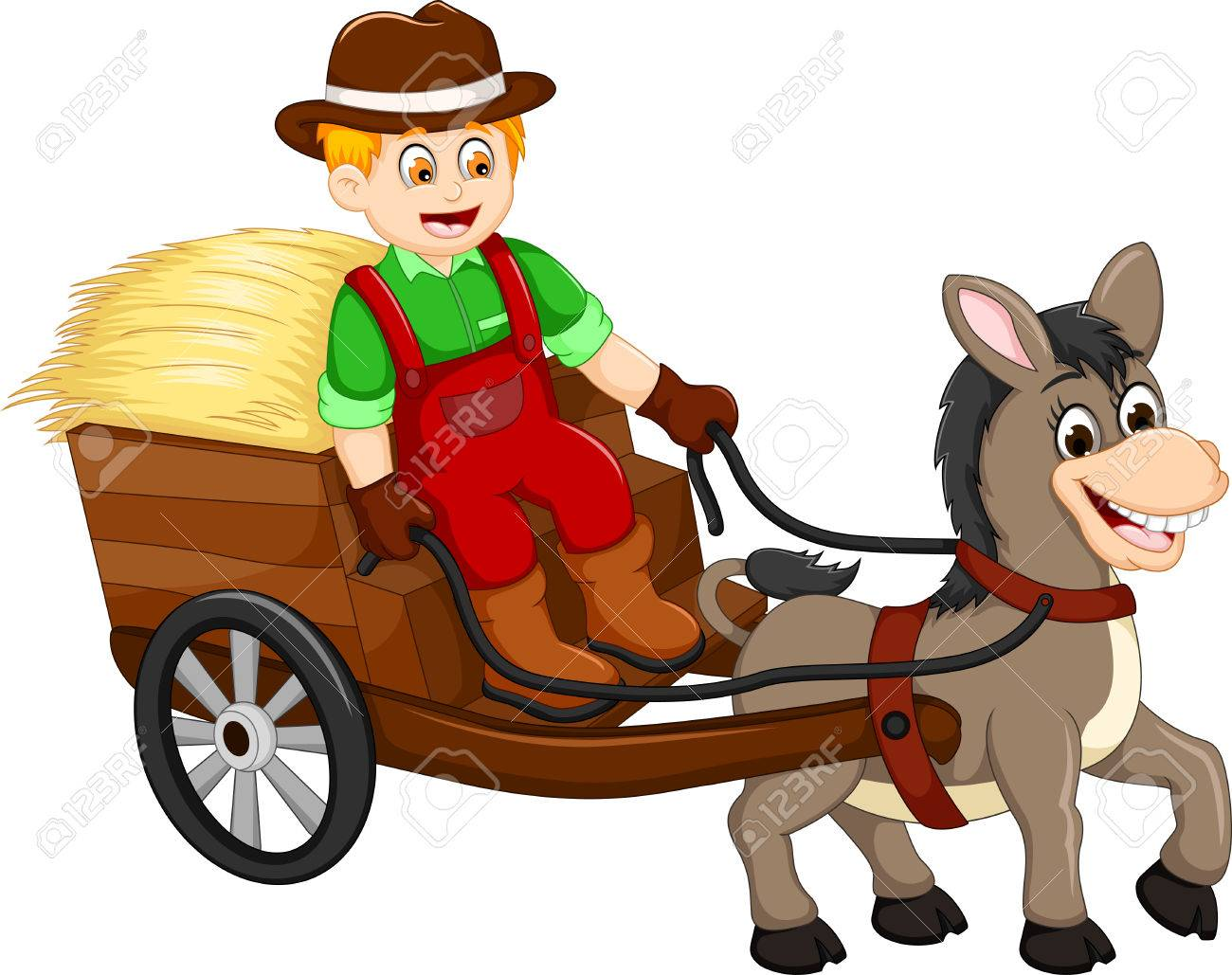 1300x1029 Funny Farmer Cartoon Carrying Grass With Horse Drawn Carriage