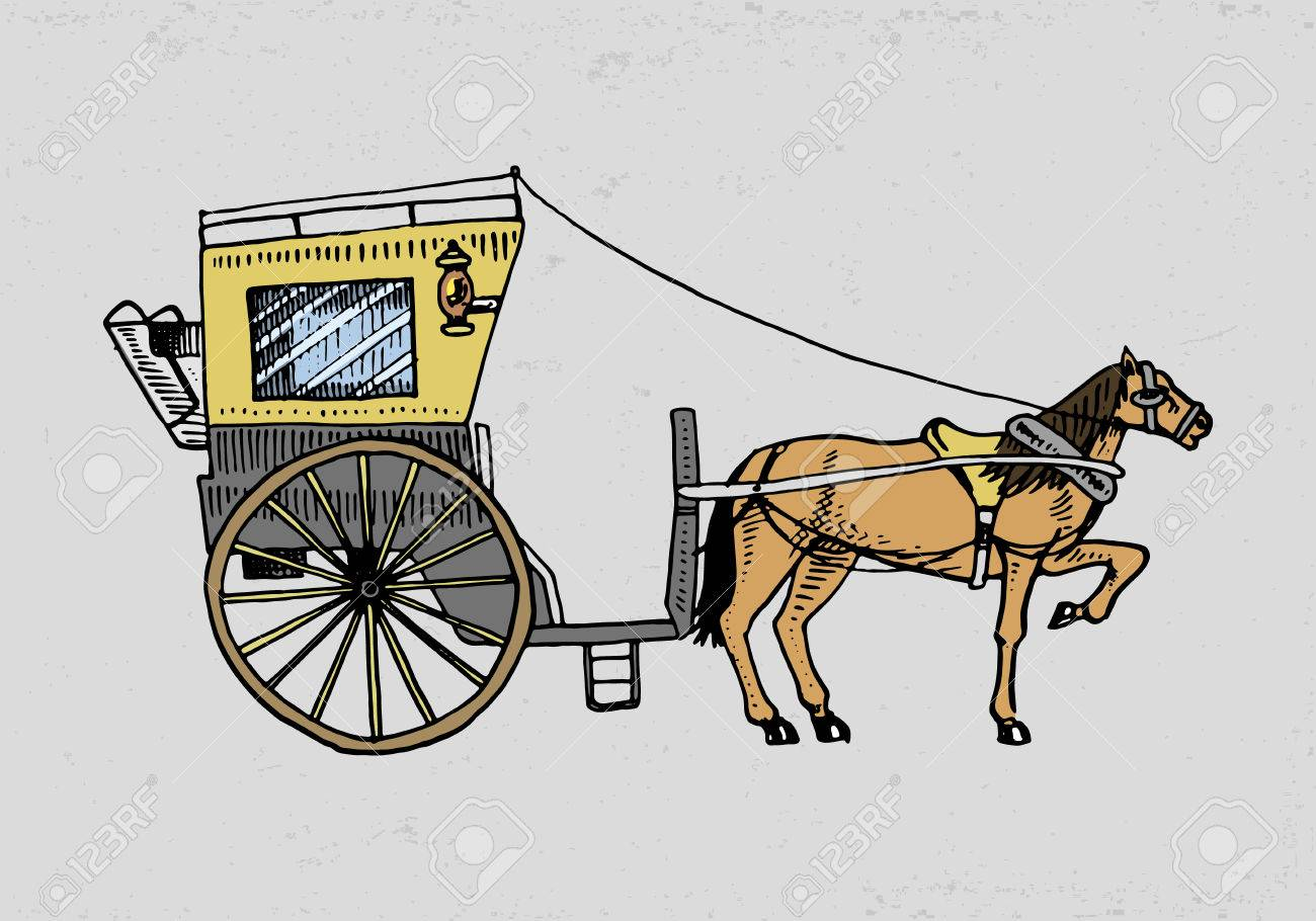 1300x910 Horse Drawn Carriage Or Coach. Travel Illustration. Engraved