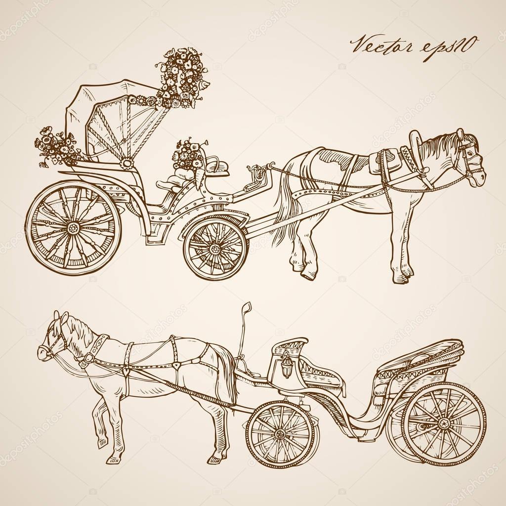 1024x1024 Horse Drawn Carriage Doodle Collage Stock Vector Sentavio
