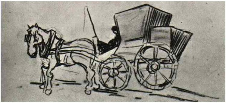 750x342 Carriage Drawn By A Horse By Vincent Van Gogh