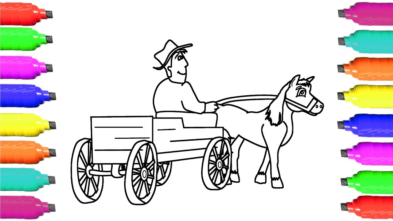 1280x720 Coloring Pages Horse And Cart
