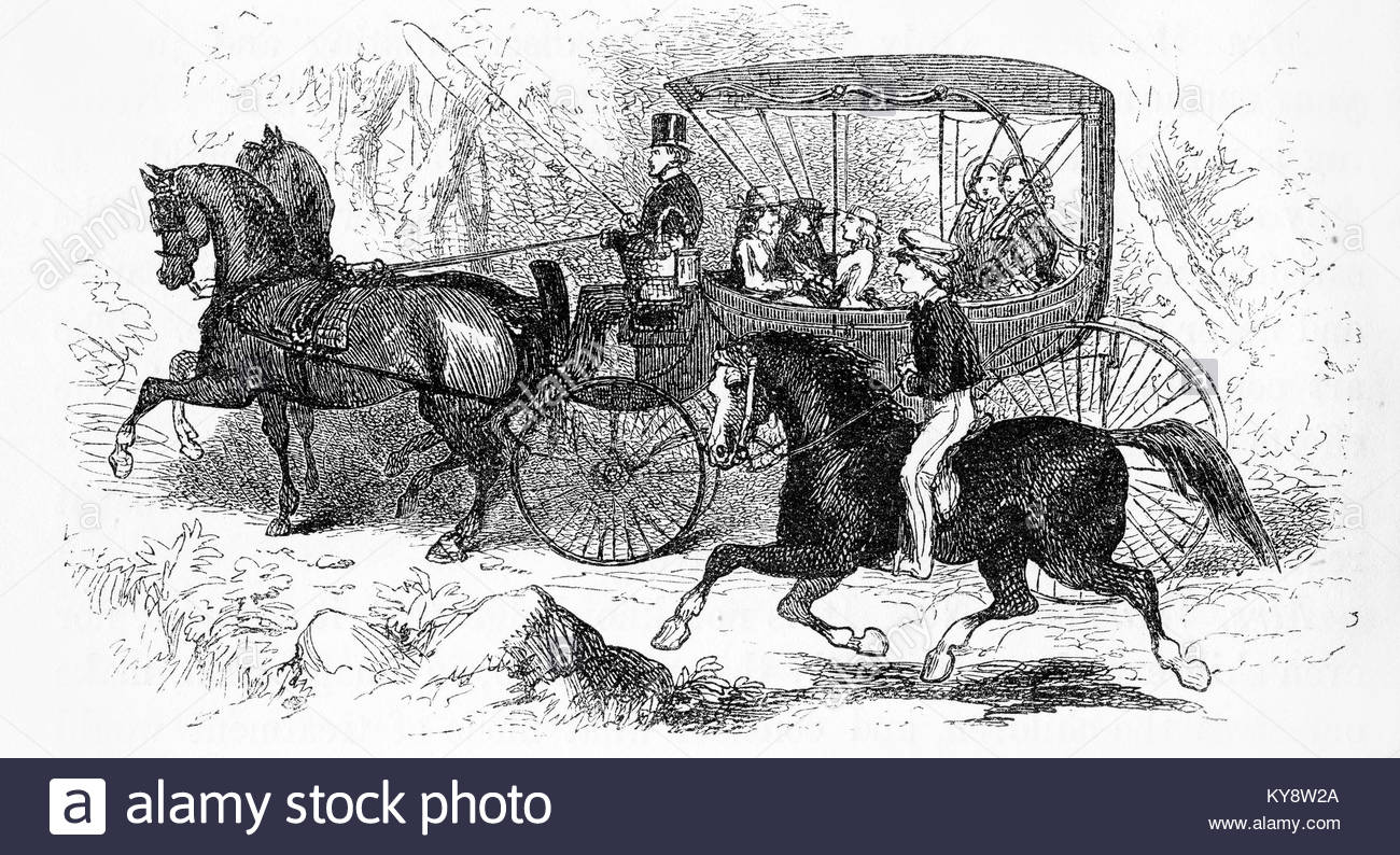 1300x794 Engraving Of A Boy On A Horse Racing A Barouche, Or Cart, During