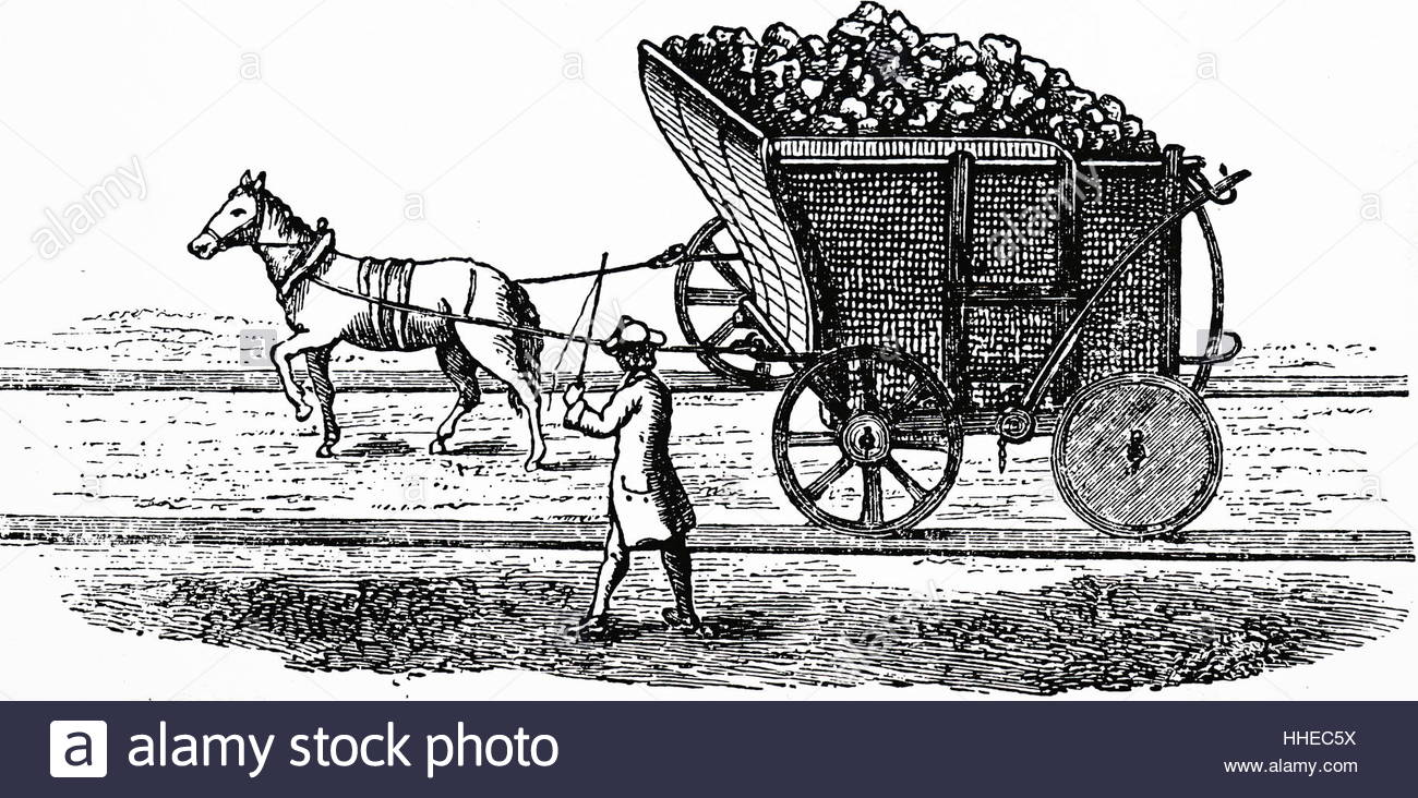 1300x732 Horse Drawing A Wagon Load Of Coal. Newcastle, 18th Century Stock