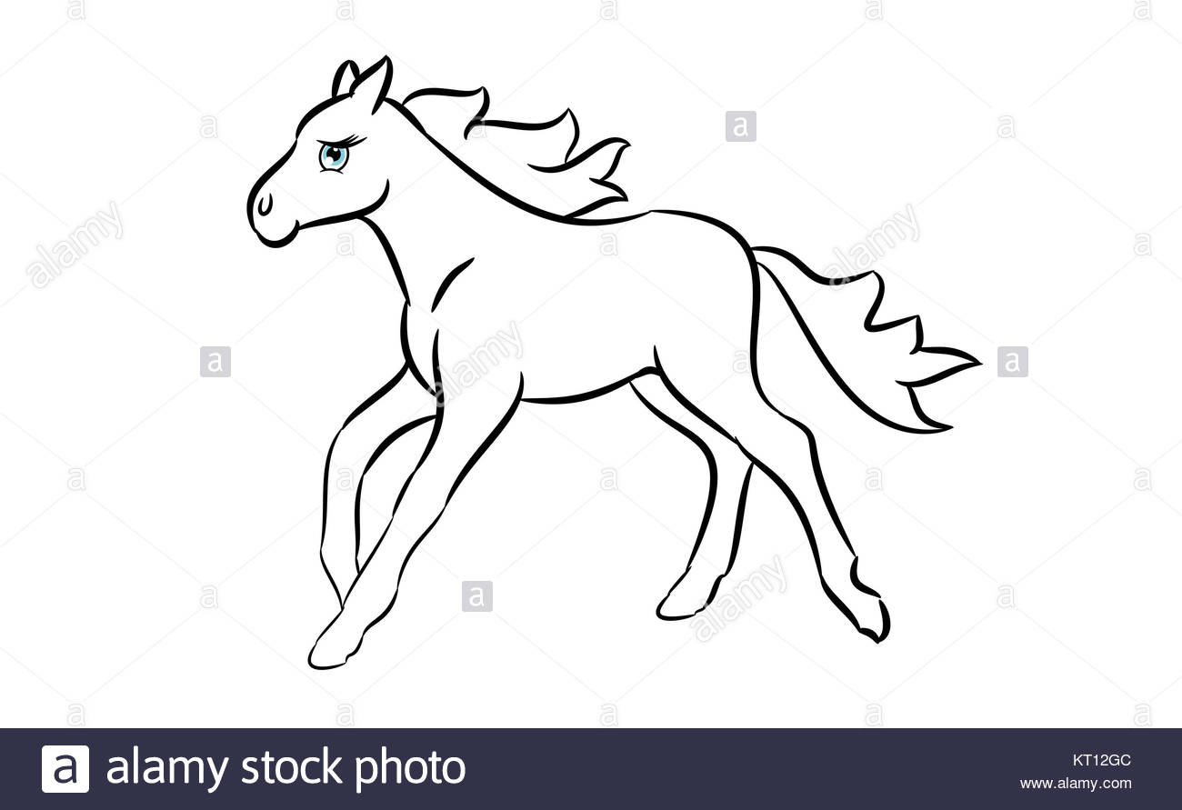1300x891 Cute Horse Cartoon Line Drawing On A White Background Stock Photo