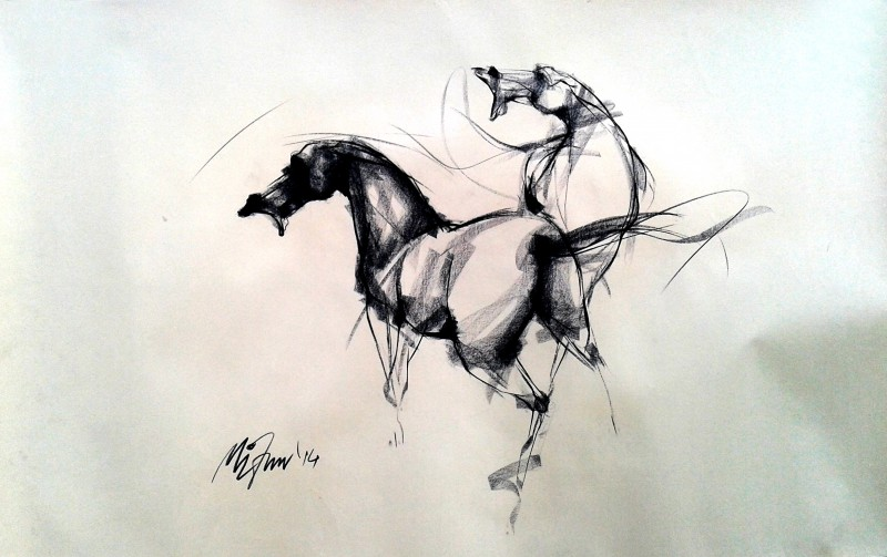 800x503 Force By Artist Mithun Dutta Charcoal Drawings On Paper