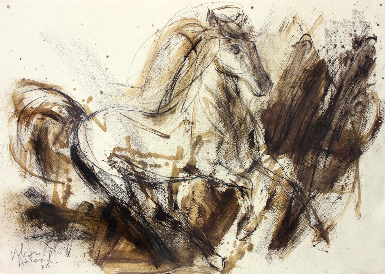 1500x1070 Horse Sketch Original Drawing Charcoal Sketch Animal Art
