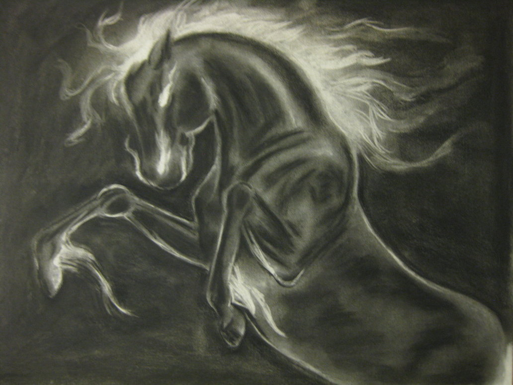 1032x774 Nightmare Horse Charcoal Drawing By Aprilj0313