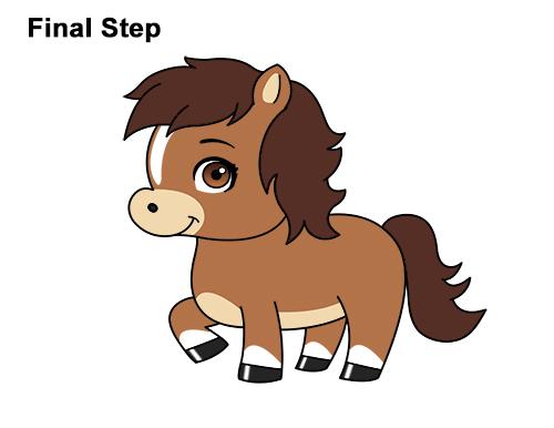 500x386 How To Draw A Horse Pony (Cartoon)