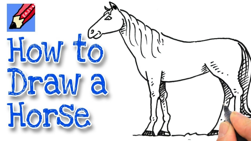 1024x576 Easy Horse Drawing How To Draw A Horse Real Easy Youtube